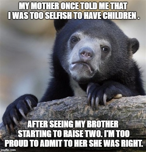 Confession Bear Meme | MY MOTHER ONCE TOLD ME THAT I WAS TOO SELFISH TO HAVE CHILDREN . AFTER SEEING MY BROTHER STARTING TO RAISE TWO. I'M TOO PROUD TO ADMIT TO HE | image tagged in memes,confession bear,AdviceAnimals | made w/ Imgflip meme maker