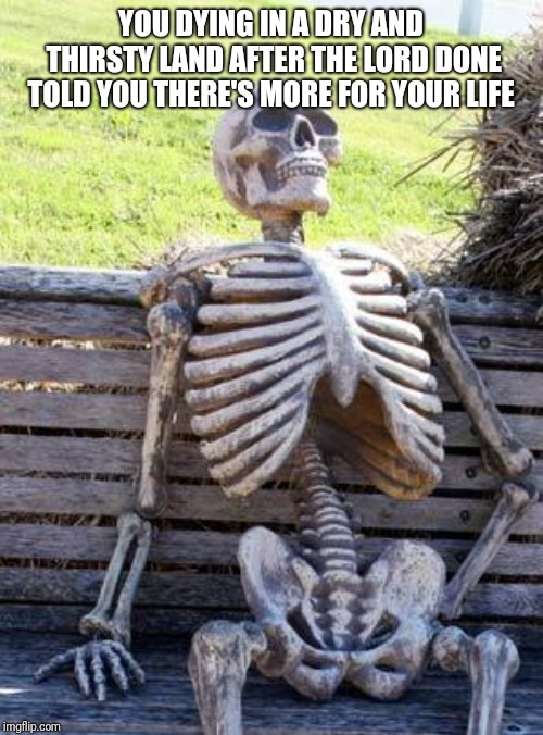 Waiting Skeleton Meme | YOU DYING IN A DRY AND THIRSTY LAND AFTER THE LORD DONE TOLD YOU THERE'S MORE FOR YOUR LIFE | image tagged in memes,waiting skeleton | made w/ Imgflip meme maker