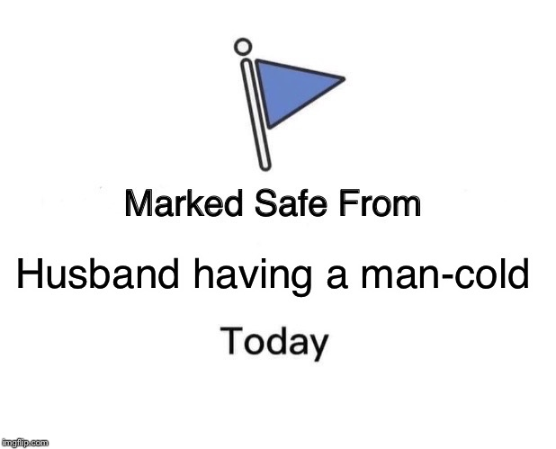 Marked Safe From Meme | Husband having a man-cold | image tagged in memes,marked safe from | made w/ Imgflip meme maker