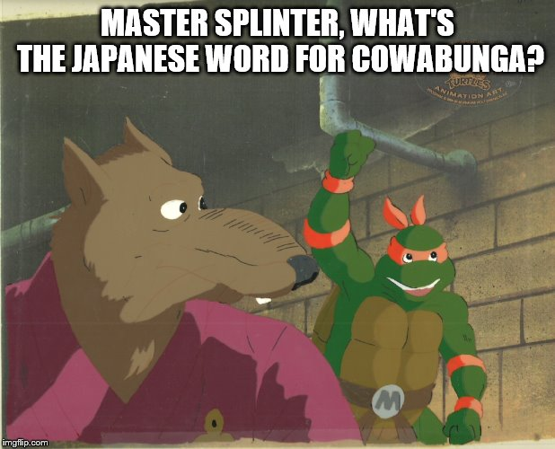 MASTER SPLINTER, WHAT'S THE JAPANESE WORD FOR COWABUNGA? | image tagged in splinter,michelangelo,tmnt | made w/ Imgflip meme maker