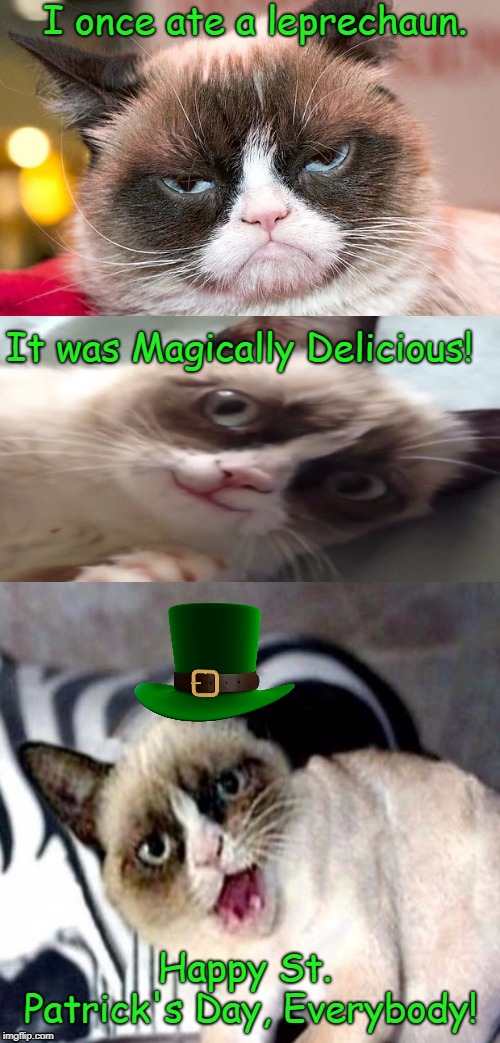 Happy Saint Patrick's Day, Everybody!  | I once ate a leprechaun. It was Magically Delicious! Happy St. Patrick's Day, Everybody! | image tagged in bad pun grumpy cat,saint patrick's day,memes | made w/ Imgflip meme maker