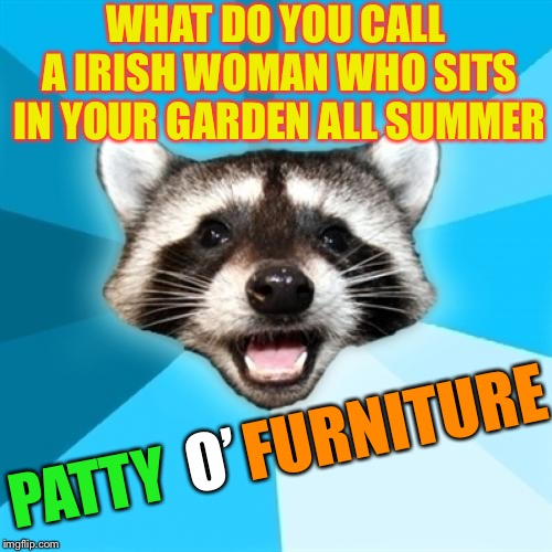 To be sure. | WHAT DO YOU CALL A IRISH WOMAN WHO SITS IN YOUR GARDEN ALL SUMMER PATTY O' FURNITURE | image tagged in memes,lame pun coon,o puns,st patrick's day,irish | made w/ Imgflip meme maker