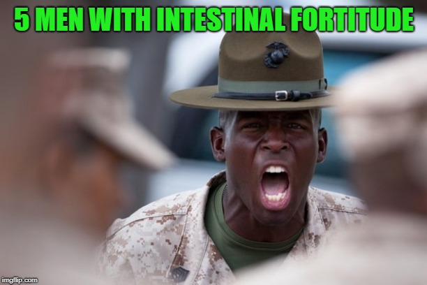 sergeant yelling | 5 MEN WITH INTESTINAL FORTITUDE | image tagged in sergeant yelling | made w/ Imgflip meme maker