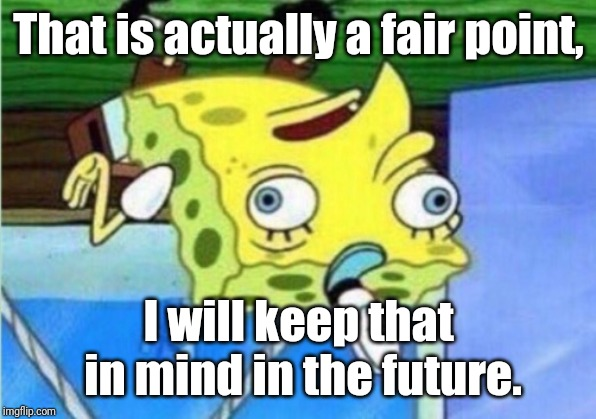 Not mocking now | That is actually a fair point, I will keep that in mind in the future. | image tagged in memes,mocking spongebob,parallel universe,opposite,funny memes | made w/ Imgflip meme maker