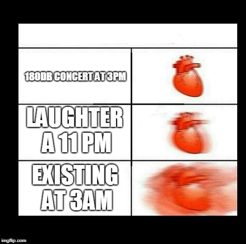 heart beating faster | LAUGHTER A 11 PM 180DB CONCERT AT 3PM EXISTING AT 3AM | image tagged in heart beating faster | made w/ Imgflip meme maker