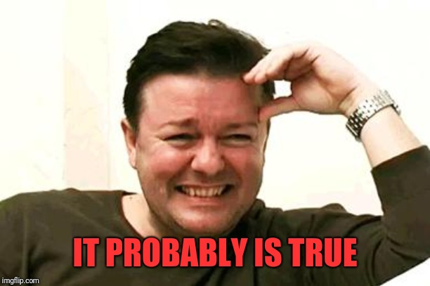 Laughing Ricky Gervais | IT PROBABLY IS TRUE | image tagged in laughing ricky gervais | made w/ Imgflip meme maker