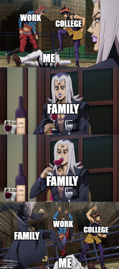 Abbacchio joins in the fun |  WORK; COLLEGE; ME; FAMILY; FAMILY; WORK; COLLEGE; FAMILY; ME | image tagged in abbacchio joins in the fun | made w/ Imgflip meme maker