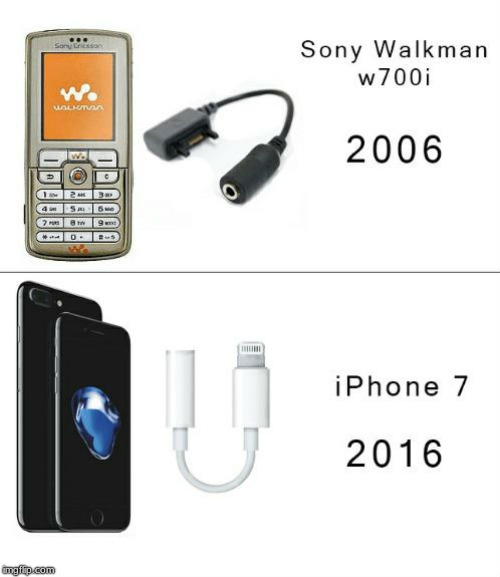 Technology has evolved so much | image tagged in iphone 7,sony,headphones,airpods,memes,funny memes | made w/ Imgflip meme maker