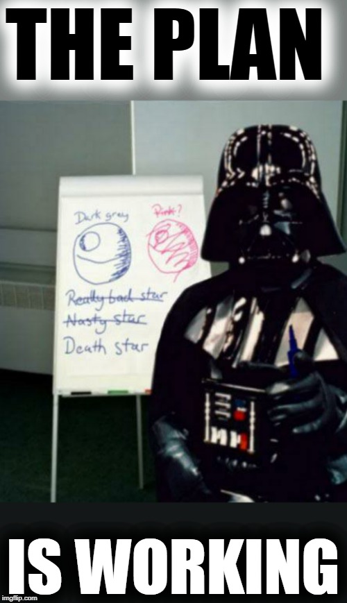Meeting with Darth Vader | THE PLAN IS WORKING | image tagged in death star,meeting,darth vader,the plan is working,dark side,star wars | made w/ Imgflip meme maker