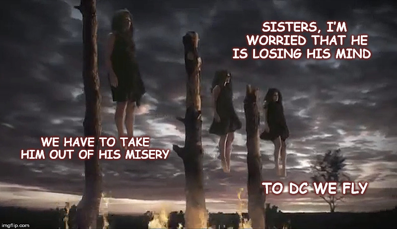 SISTERS, I'M WORRIED THAT HE IS LOSING HIS MIND WE HAVE TO TAKE HIM OUT OF HIS MISERY TO DC WE FLY | image tagged in witches,trump | made w/ Imgflip meme maker