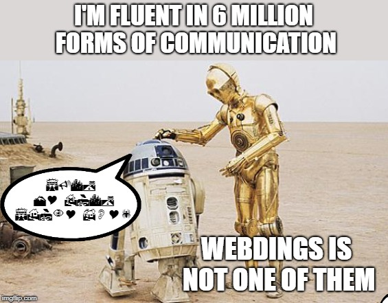 Some things are indecipherable |  I'M FLUENT IN 6 MILLION FORMS OF COMMUNICATION; SUCK MY DICK SHINY BOY! WEBDINGS IS NOT ONE OF THEM | image tagged in r2d2  c3po,memes,webdings,communication | made w/ Imgflip meme maker