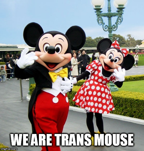 Mickey and Minnie Mouse | WE ARE TRANS MOUSE | image tagged in mickey and minnie mouse | made w/ Imgflip meme maker