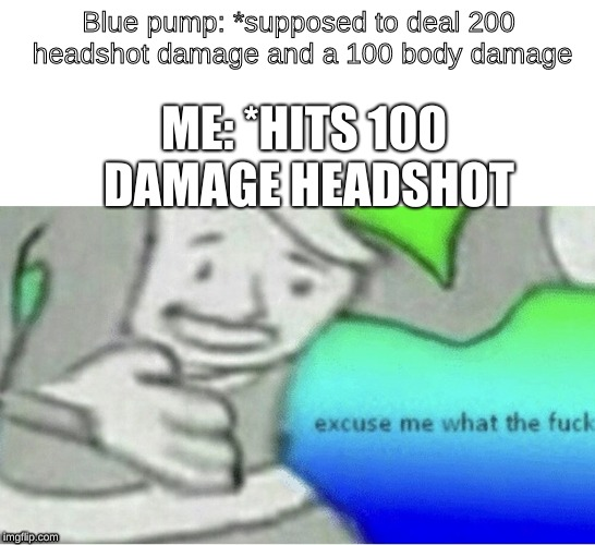 Excuse me wtf blank template | Blue pump: *supposed to deal 200 headshot damage and a 100 body damage ME: *HITS 100 DAMAGE HEADSHOT | image tagged in excuse me wtf blank template | made w/ Imgflip meme maker