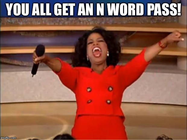 Oprah You Get A Meme | YOU ALL GET AN N WORD PASS! | image tagged in memes,oprah you get a | made w/ Imgflip meme maker