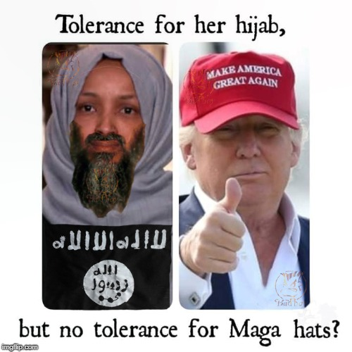 The Double Standard At Work | image tagged in hijab,maga,donald trump,parody,lol so funny | made w/ Imgflip meme maker