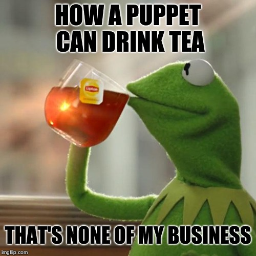 Does he actually sallow the tea? Search it. | HOW A PUPPET CAN DRINK TEA THAT'S NONE OF MY BUSINESS | image tagged in memes,kermit the frog,puppet,tea,that's none of my business,funny | made w/ Imgflip meme maker