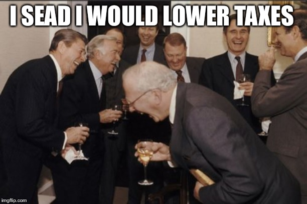 Laughing Men In Suits |  I SEAD I WOULD LOWER TAXES | image tagged in memes,laughing men in suits | made w/ Imgflip meme maker