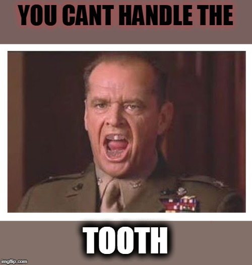 You Can't Handle the Truth | YOU CANT HANDLE THE TOOTH | image tagged in you can't handle the truth | made w/ Imgflip meme maker