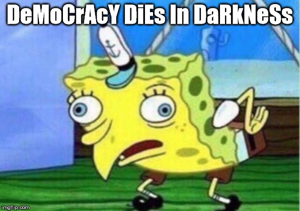 Mocking Spongebob Meme |  DeMoCrAcY DiEs In DaRkNeSs | image tagged in memes,mocking spongebob | made w/ Imgflip meme maker