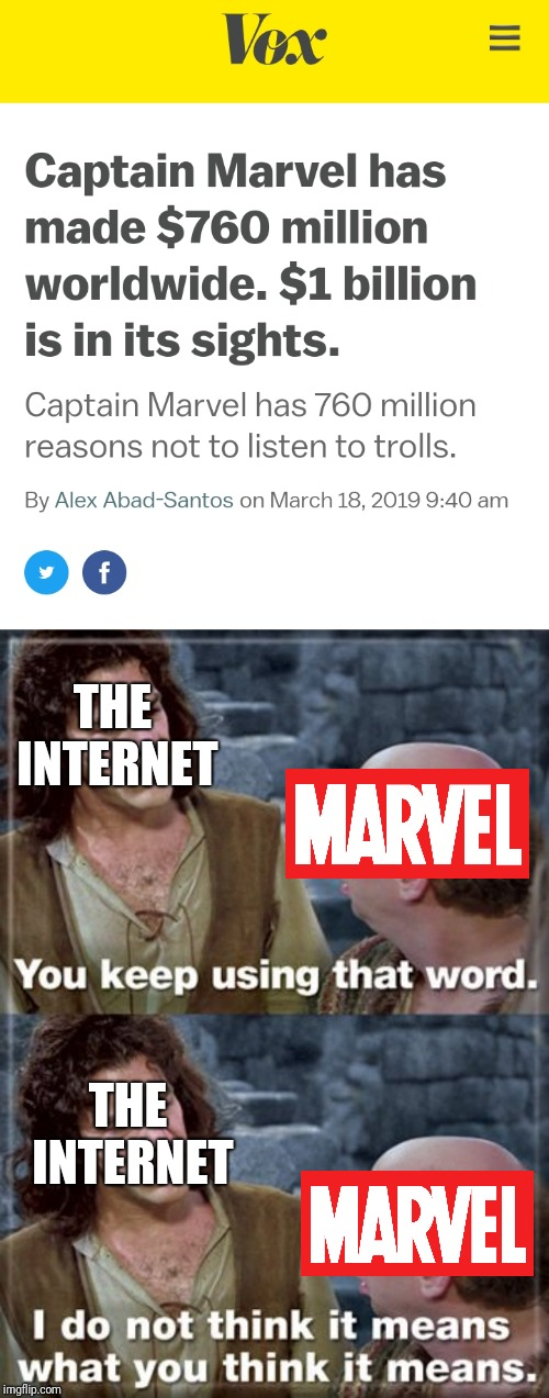 But no, people who don't like Captain Marvel just really hate women, right? | THE INTERNET THE INTERNET | image tagged in captain marvel,princess bride,inigo montoya | made w/ Imgflip meme maker