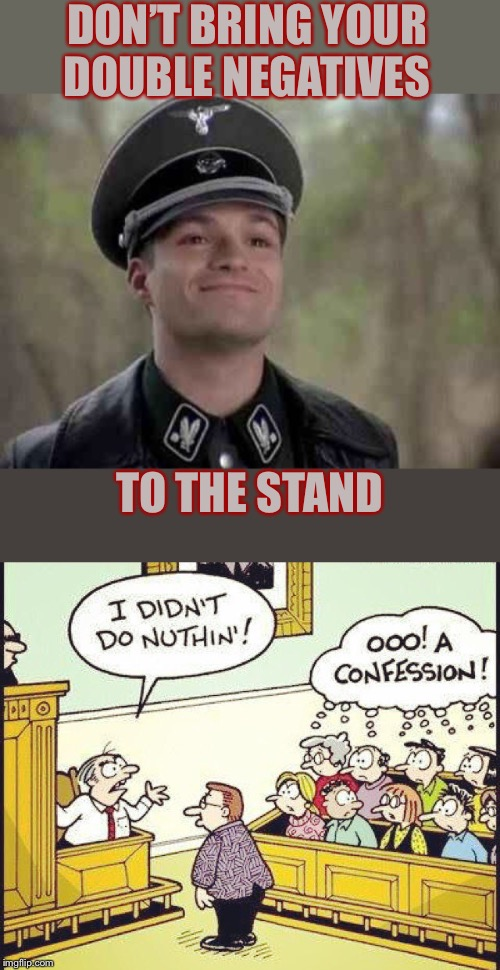 The jury did Nazi that coming | DON'T BRING YOUR DOUBLE NEGATIVES TO THE STAND | image tagged in grammar nazi,judge,confusing,jury duty,or is it,guilty | made w/ Imgflip meme maker
