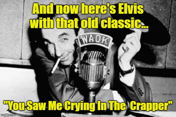 "By Request | And now here's Elvis with that old classic... ""You Saw Me Crying In The  Crapper"" 