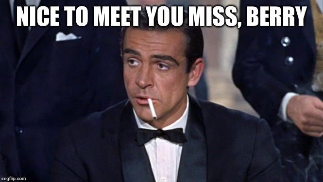 James Bond | NICE TO MEET YOU MISS, BERRY | image tagged in james bond | made w/ Imgflip meme maker
