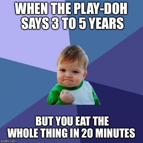 Success Kid |  WHEN THE PLAY-DOH SAYS 3 TO 5 YEARS; BUT YOU EAT THE WHOLE THING IN 20 MINUTES | image tagged in memes,success kid | made w/ Imgflip meme maker