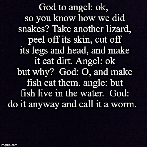 Black screen  | God to angel: ok, so you know how we did snakes? Take another lizard, peel off its skin, cut off its legs and head, and make it eat dirt. An | image tagged in black screen | made w/ Imgflip meme maker