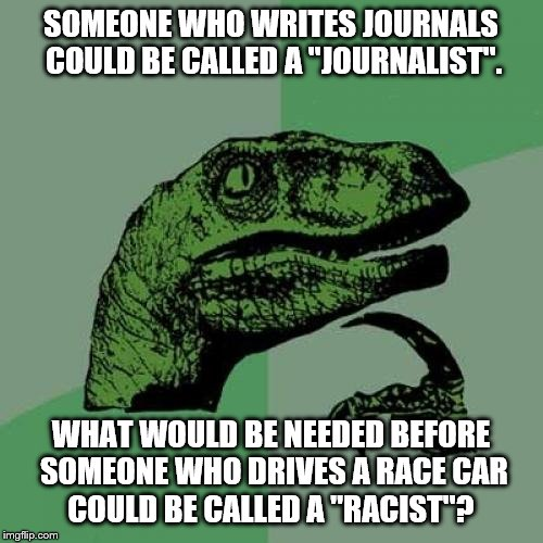Philosoraptor Meme | SOMEONE WHO WRITES JOURNALS COULD BE CALLED A ''JOURNALIST''. WHAT WOULD BE NEEDED BEFORE SOMEONE WHO DRIVES A RACE CAR   COULD BE CALLED A  | image tagged in memes,philosoraptor | made w/ Imgflip meme maker