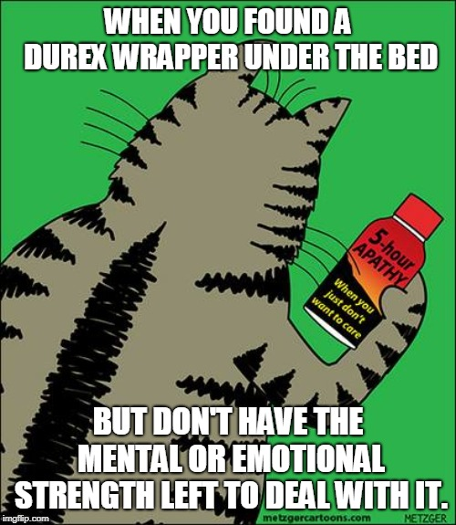 Too bad this isn't a real drink.  | WHEN YOU FOUND A DUREX WRAPPER UNDER THE BED BUT DON'T HAVE THE MENTAL OR EMOTIONAL STRENGTH LEFT TO DEAL WITH IT. | image tagged in 5-hour apathy drink,nixieknox,memes | made w/ Imgflip meme maker