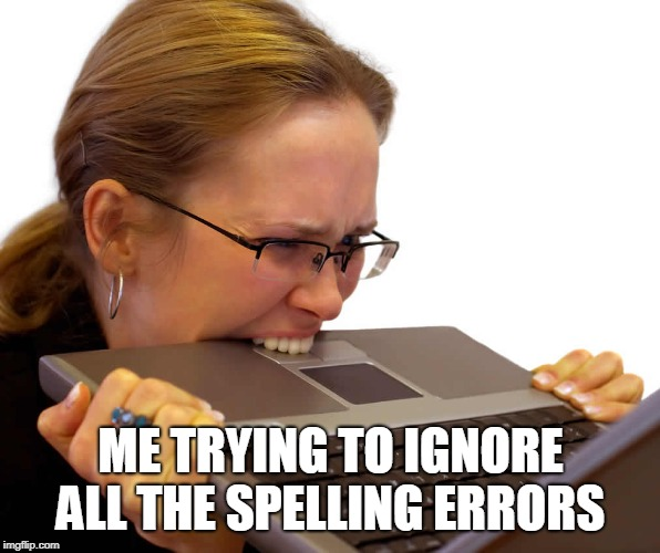 ME TRYING TO IGNORE ALL THE SPELLING ERRORS | image tagged in frustrated | made w/ Imgflip meme maker