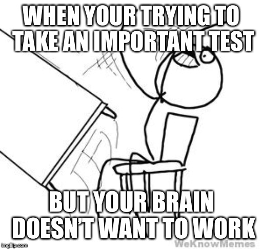desk flip | WHEN YOUR TRYING TO TAKE AN IMPORTANT TEST BUT YOUR BRAIN DOESN'T WANT TO WORK | image tagged in desk flip | made w/ Imgflip meme maker
