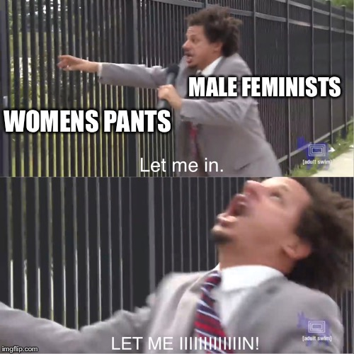 let me in |  MALE FEMINISTS; WOMENS PANTS | image tagged in let me in | made w/ Imgflip meme maker