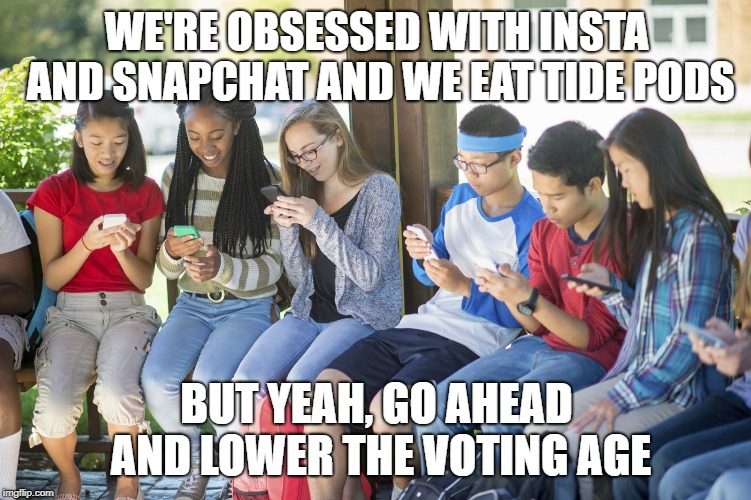 Lower the voting age to tide pods | WE'RE OBSESSED WITH INSTA AND SNAPCHAT AND WE EAT TIDE PODS BUT YEAH, GO AHEAD AND LOWER THE VOTING AGE | image tagged in teenagers,lower the voting age,nancy pelosi is crazy,wth,voting,kids today | made w/ Imgflip meme maker