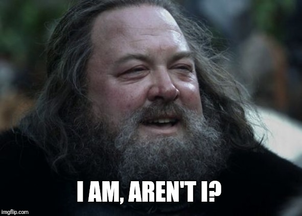 Robert Baratheon Laughs | I AM, AREN'T I? | image tagged in robert baratheon laughs | made w/ Imgflip meme maker