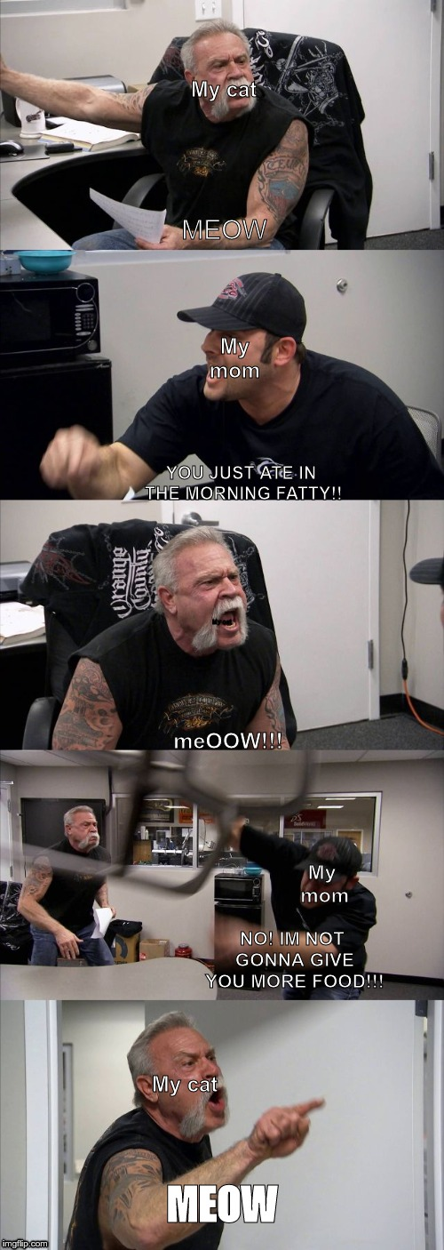 American Chopper Argument | MEOW YOU JUST ATE IN THE MORNING FATTY!! meOOW!!! NO! IM NOT GONNA GIVE YOU MORE FOOD!!! MEOW My mom My cat My cat My mom My cat | image tagged in memes,american chopper argument | made w/ Imgflip meme maker