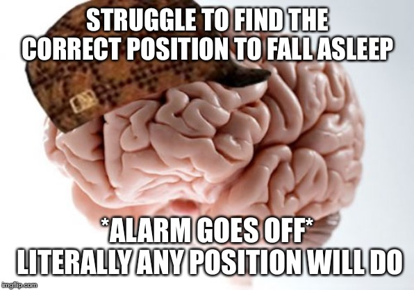 Scumbag Brain | STRUGGLE TO FIND THE CORRECT POSITION TO FALL ASLEEP *ALARM GOES OFF* LITERALLY ANY POSITION WILL DO | image tagged in memes,scumbag brain,AdviceAnimals | made w/ Imgflip meme maker