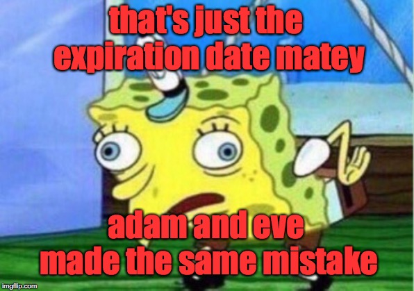 Mocking Spongebob Meme | that's just the expiration date matey adam and eve made the same mistake | image tagged in memes,mocking spongebob | made w/ Imgflip meme maker