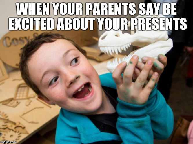 ya ya  | WHEN YOUR PARENTS SAY BE EXCITED ABOUT YOUR PRESENTS | image tagged in haha | made w/ Imgflip meme maker
