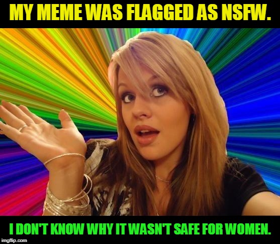 Not really. Gotta add that for people who think, it's serious. LOL | MY MEME WAS FLAGGED AS NSFW. I DON'T KNOW WHY IT WASN'T SAFE FOR WOMEN. | image tagged in memes,dumb blonde,nixieknox | made w/ Imgflip meme maker