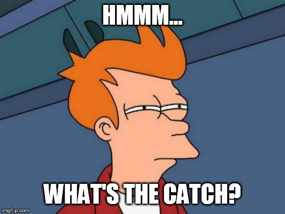 Futurama Fry Meme | HMMM... WHAT'S THE CATCH? | image tagged in memes,futurama fry | made w/ Imgflip meme maker