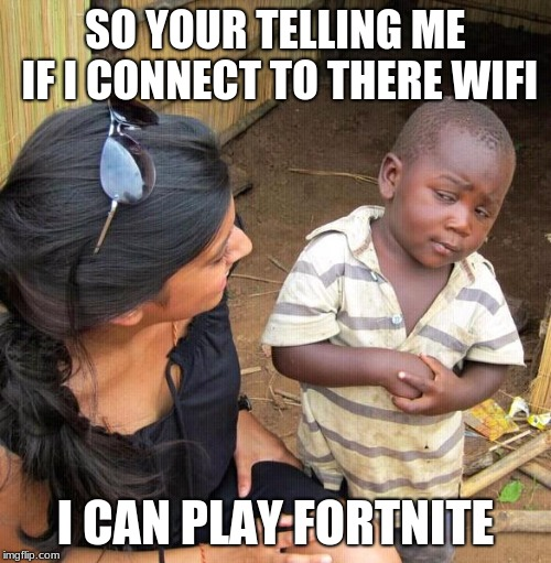 SO YOUR TELLING ME IF I CONNECT TO THERE WIFI; I CAN PLAY FORTNITE | image tagged in online gaming | made w/ Imgflip meme maker