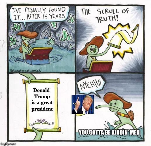 Is it really true? | Donald Trump is a great president YOU GOTTA BE KIDDIN' MEH | image tagged in memes,the scroll of truth | made w/ Imgflip meme maker