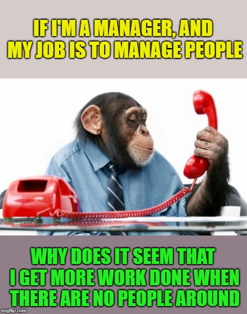 This is seriously a problem for me, why? | IF I'M A MANAGER, AND MY JOB IS TO MANAGE PEOPLE WHY DOES IT SEEM THAT I GET MORE WORK DONE WHEN THERE ARE NO PEOPLE AROUND | image tagged in phonemonkey,productivity,it'd be easy if it weren't for the people,i love my job,wat | made w/ Imgflip meme maker