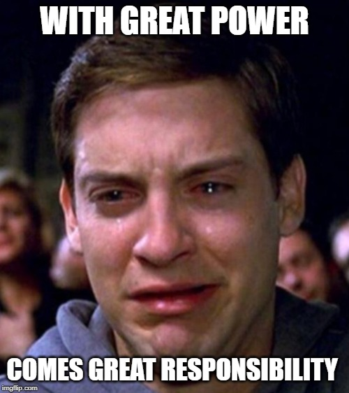 WITH GREAT POWER COMES GREAT RESPONSIBILITY | image tagged in crying spiderman | made w/ Imgflip meme maker