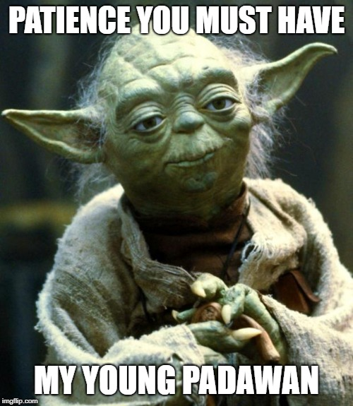 """Meme with Yoda saying """"Patience you must have my young padawan."""""""