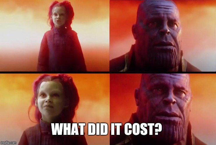 thanos what did it cost | WHAT DID IT COST? | image tagged in thanos what did it cost | made w/ Imgflip meme maker