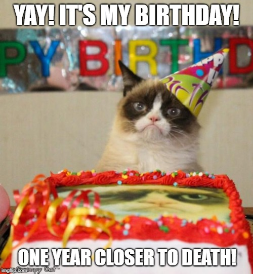 Grumpy Cat Birthday | YAY! IT'S MY BIRTHDAY! ONE YEAR CLOSER TO DEATH! | image tagged in memes,grumpy cat birthday,grumpy cat | made w/ Imgflip meme maker