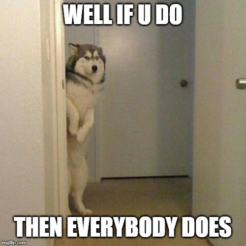 WELL IF U DO THEN EVERYBODY DOES | image tagged in siberian dog | made w/ Imgflip meme maker